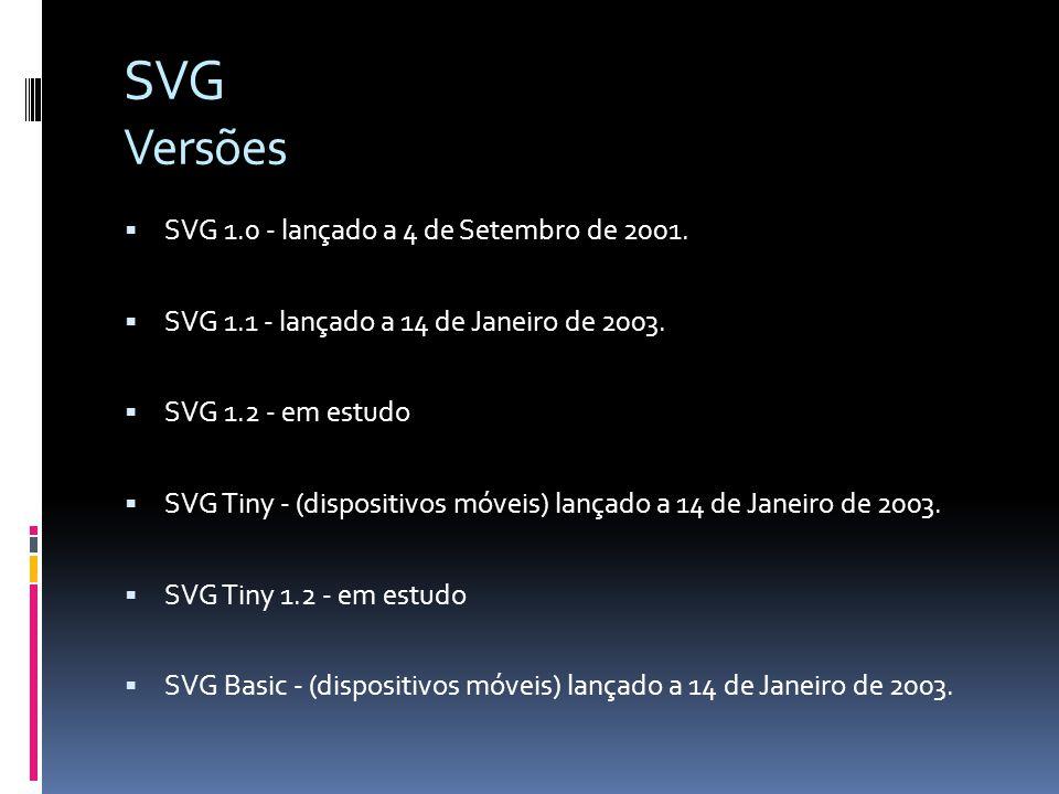 SVG Versões SVG 1.0 - lançado a 4 de Setembro de 2001.