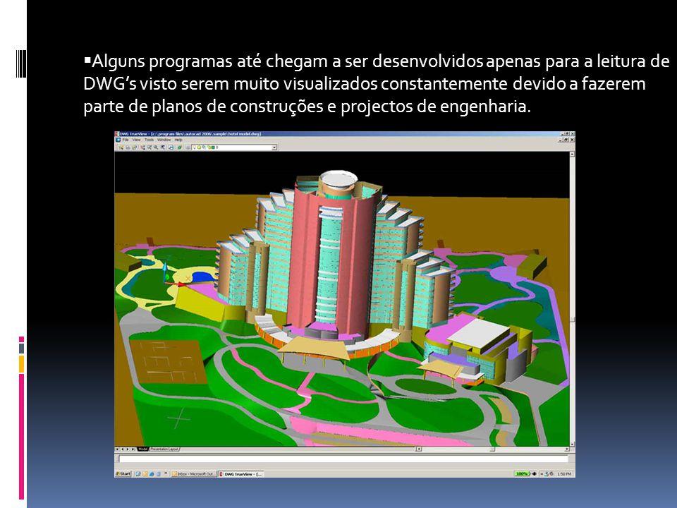 Alguns programas até chegam a ser desenvolvidos apenas para a leitura de DWG's visto serem muito visualizados constantemente devido a fazerem parte de planos de construções e projectos de engenharia.