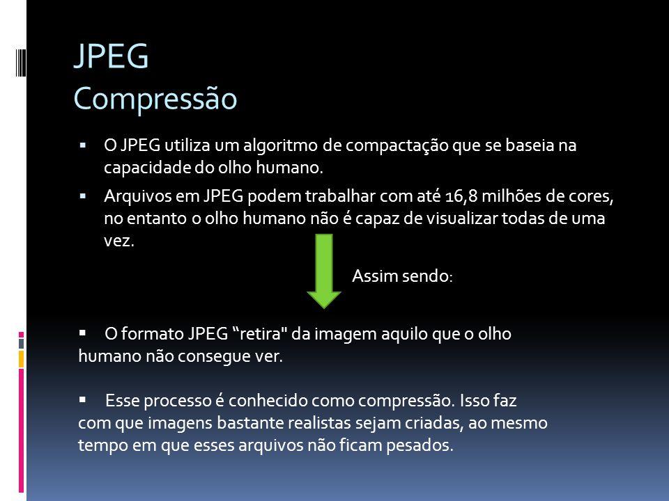 JPEG Compressão O JPEG utiliza um algoritmo de compactação que se baseia na capacidade do olho humano.
