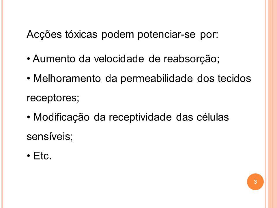 Acções tóxicas podem potenciar-se por: