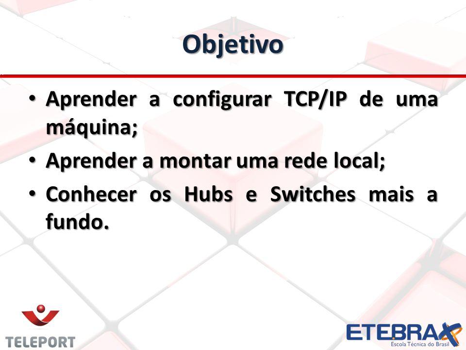 Objetivo Aprender a configurar TCP/IP de uma máquina;