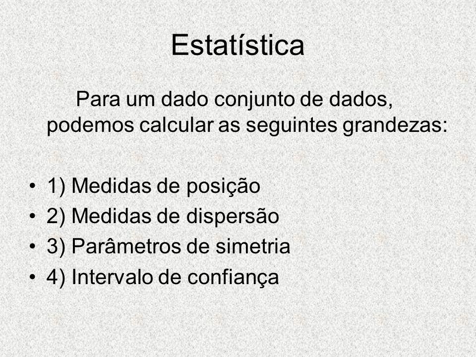 Estatística Para um dado conjunto de dados, podemos calcular as seguintes grandezas: 1) Medidas de posição.