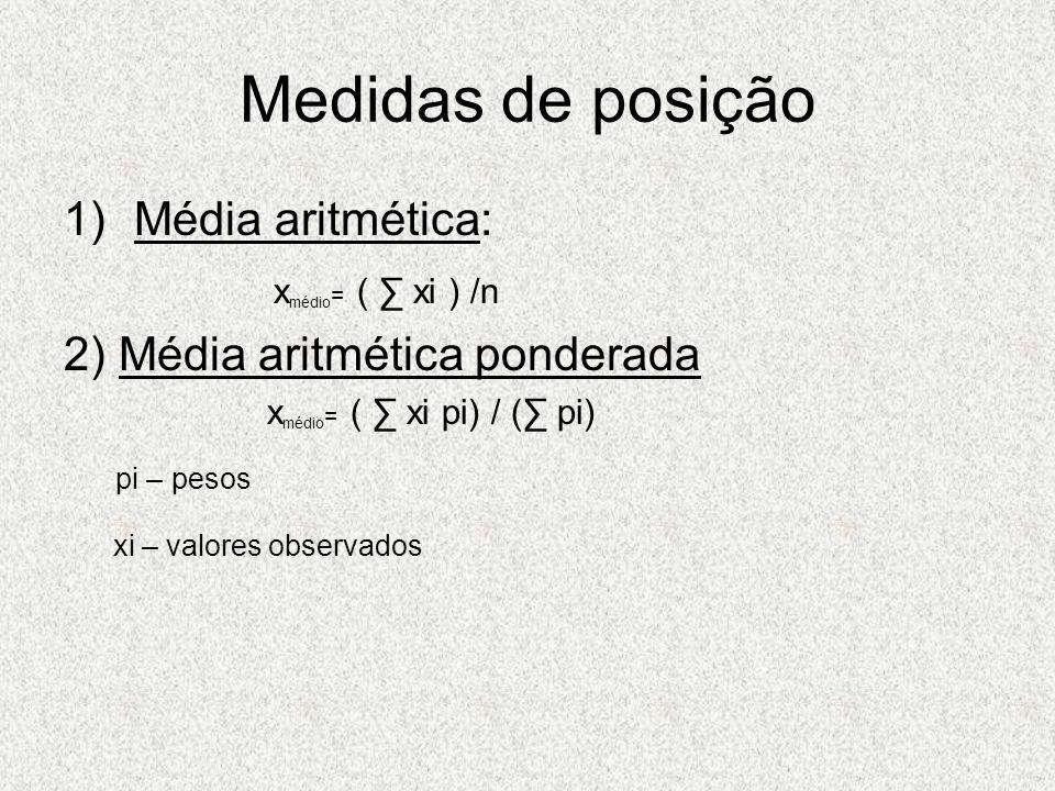 Medidas de posição Média aritmética: xmédio= ( ∑ xi ) /n
