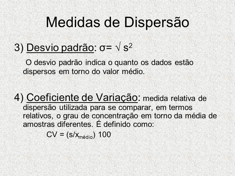 Medidas de Dispersão 3) Desvio padrão: σ= √ s2