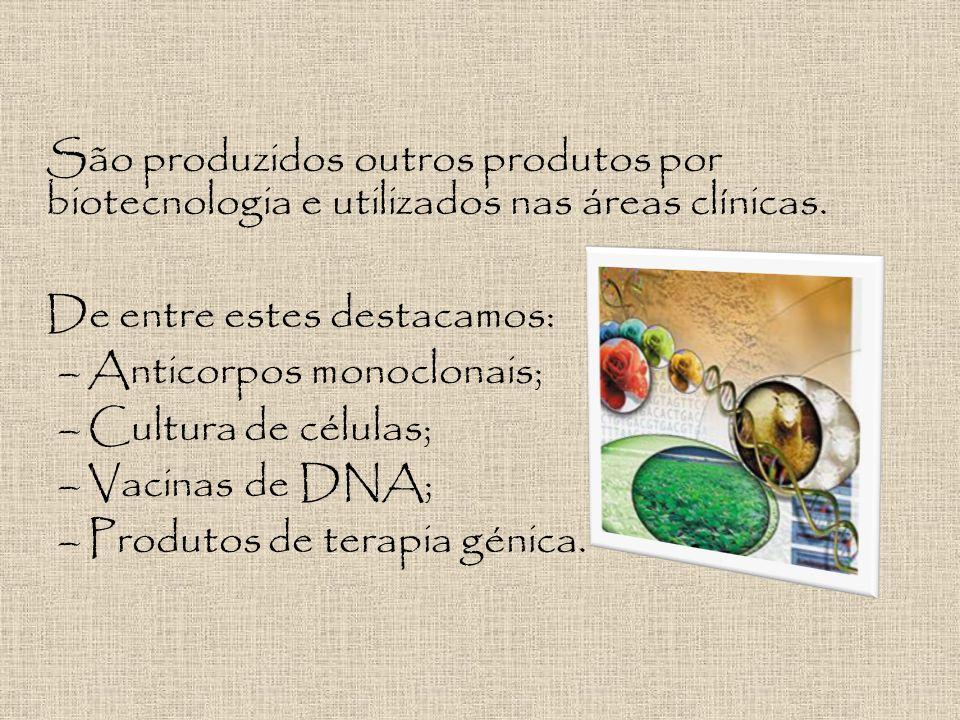 São produzidos outros produtos por biotecnologia e utilizados nas áreas clínicas.