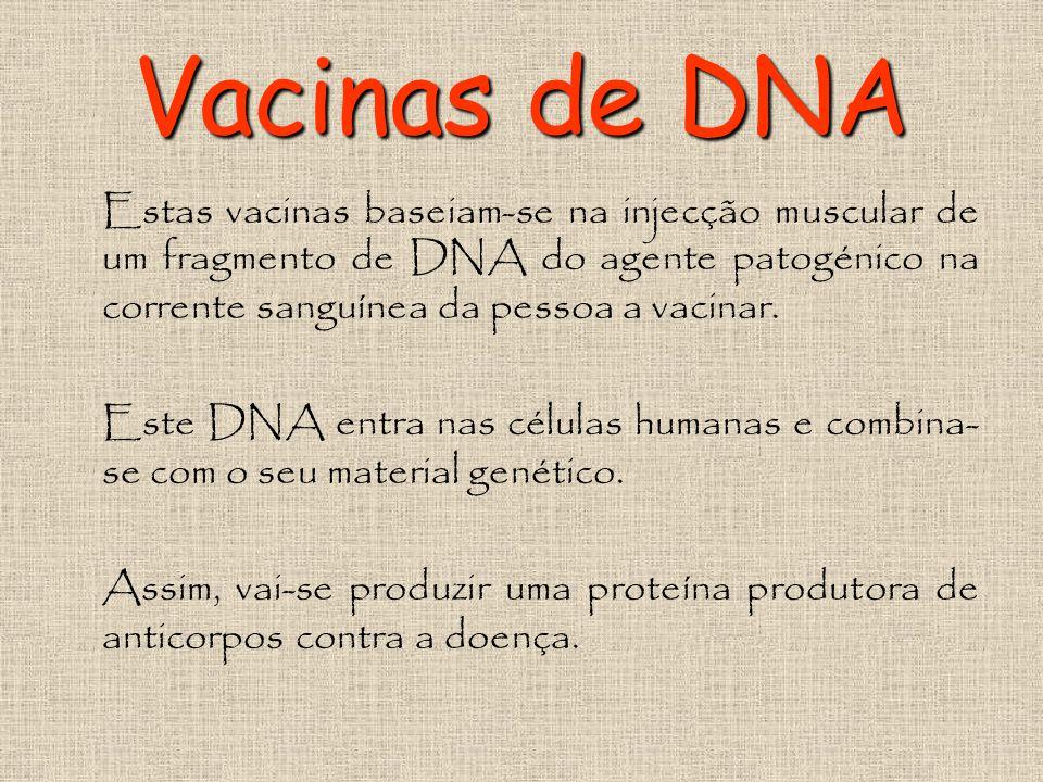 Vacinas de DNA Estas vacinas baseiam-se na injecção muscular de um fragmento de DNA do agente patogénico na corrente sanguínea da pessoa a vacinar.