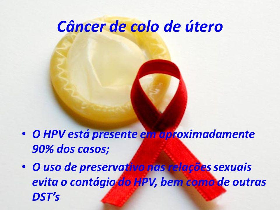 Câncer de colo de útero O HPV está presente em aproximadamente 90% dos casos;