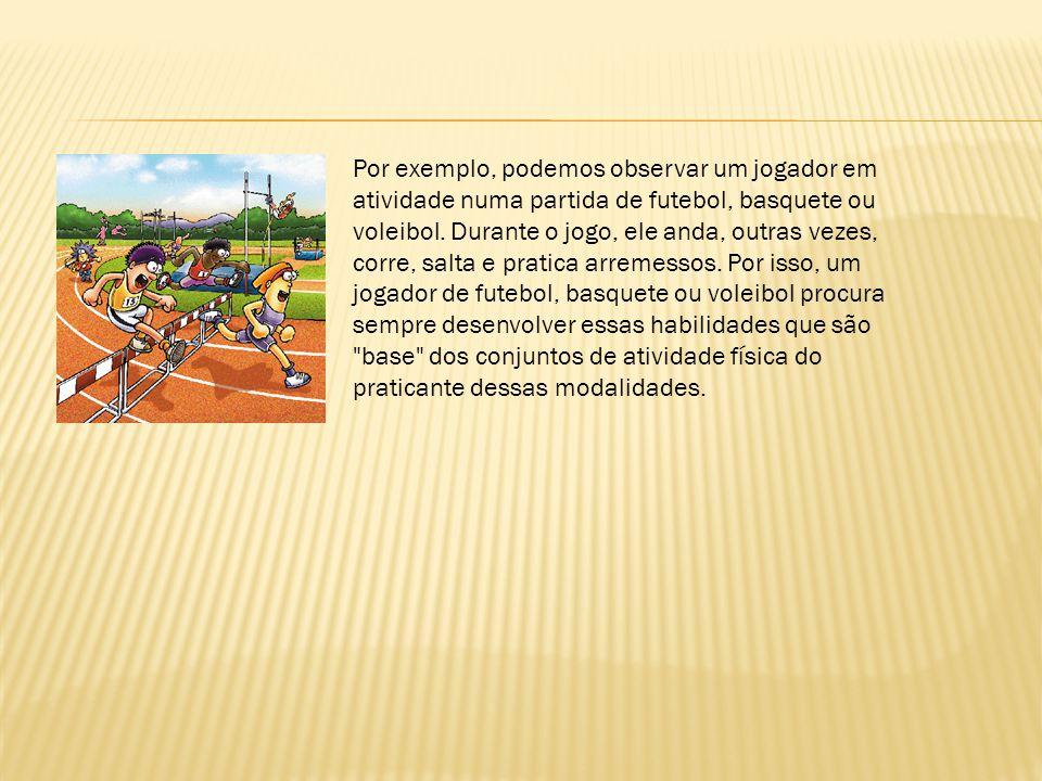 Por exemplo, podemos observar um jogador em atividade numa partida de futebol, basquete ou voleibol.