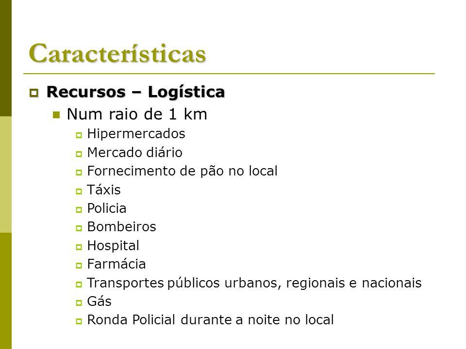 Características Recursos – Logística Num raio de 1 km Hipermercados