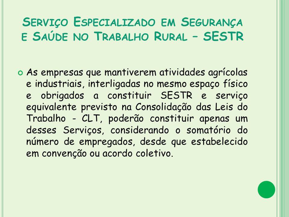 Serviço Especializado em Segurança e Saúde no Trabalho Rural – SESTR