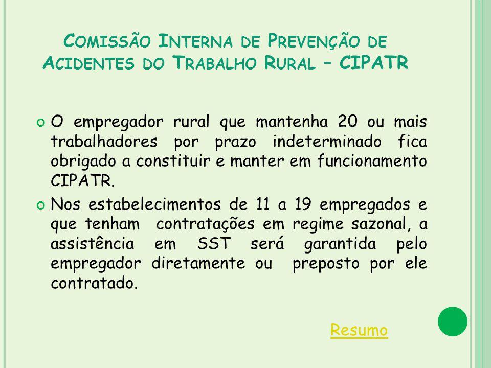 Comissão Interna de Prevenção de Acidentes do Trabalho Rural – CIPATR