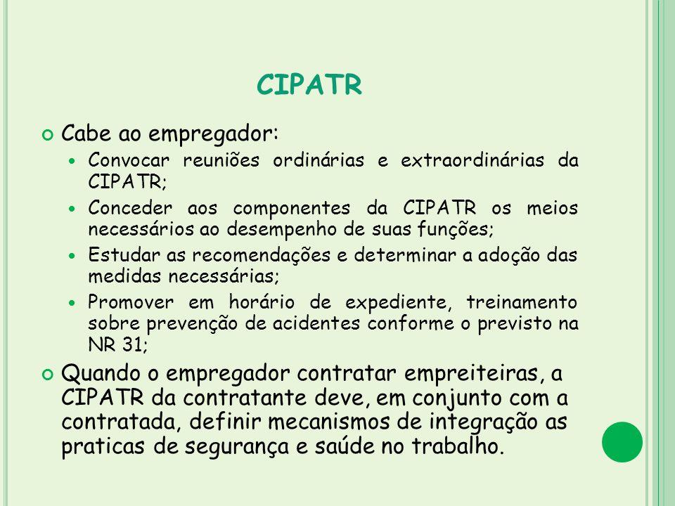 CIPATR Cabe ao empregador: