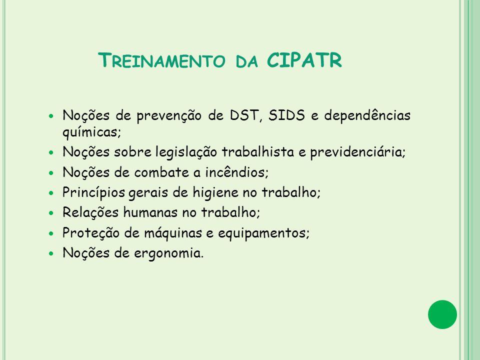 Treinamento da CIPATR Noções de prevenção de DST, SIDS e dependências químicas; Noções sobre legislação trabalhista e previdenciária;
