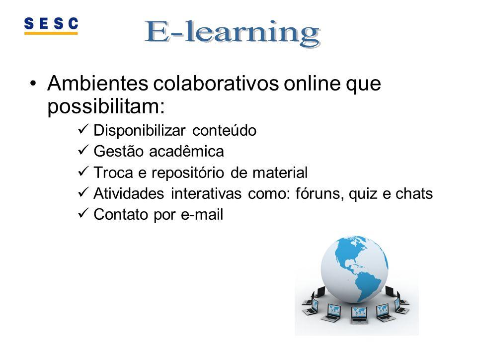 E-learning Ambientes colaborativos online que possibilitam:
