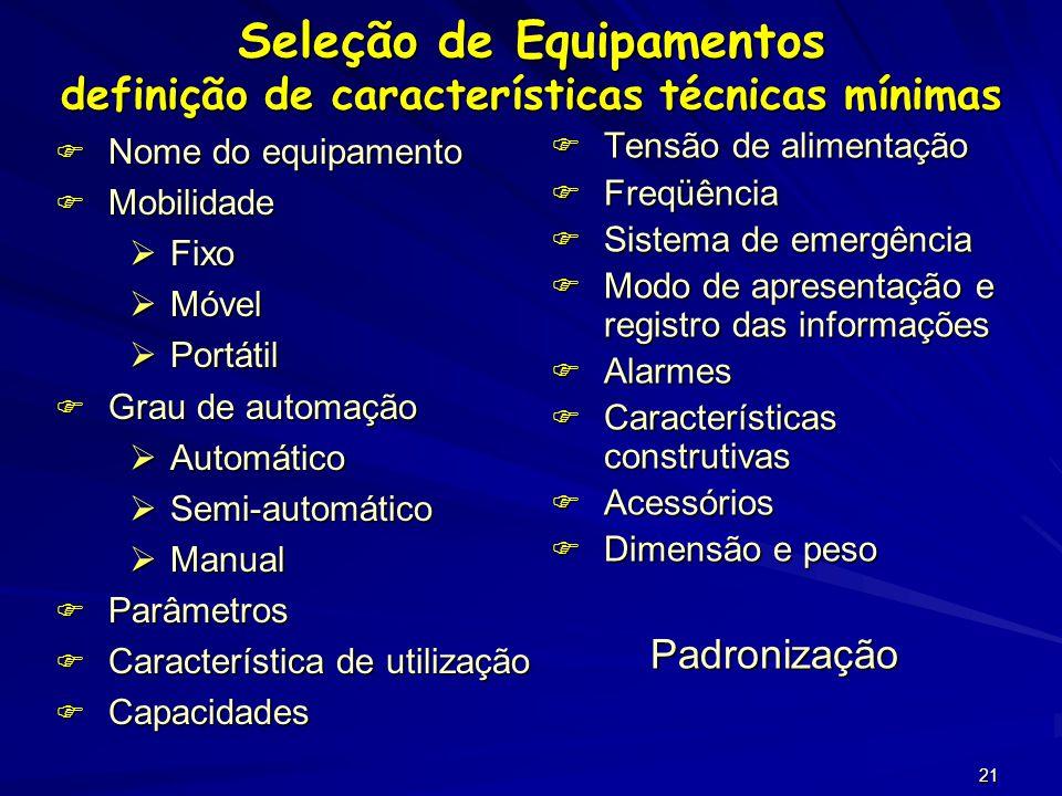 Seleção de Equipamentos definição de características técnicas mínimas