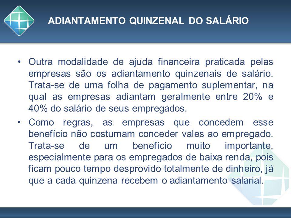ADIANTAMENTO QUINZENAL DO SALÁRIO