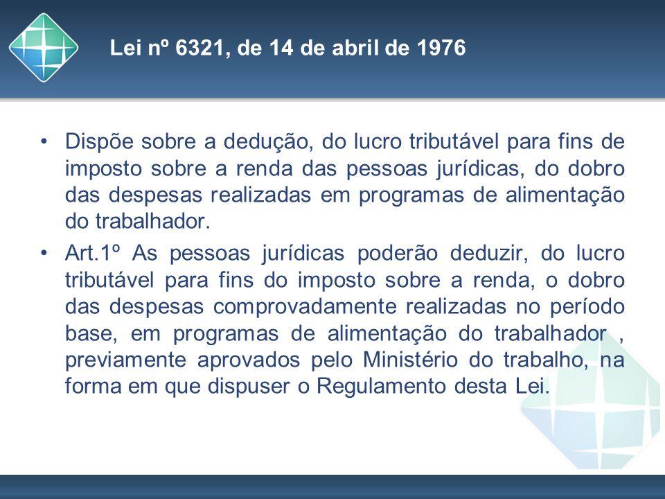 Lei nº 6321, de 14 de abril de 1976