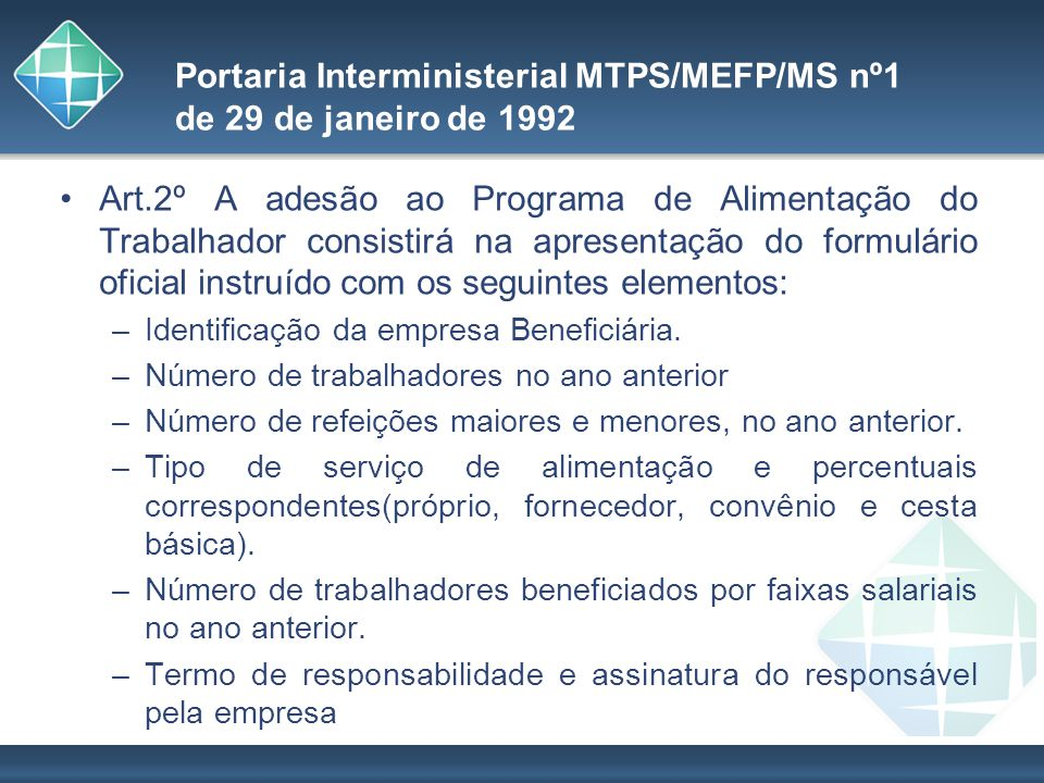 Portaria Interministerial MTPS/MEFP/MS nº1 de 29 de janeiro de 1992