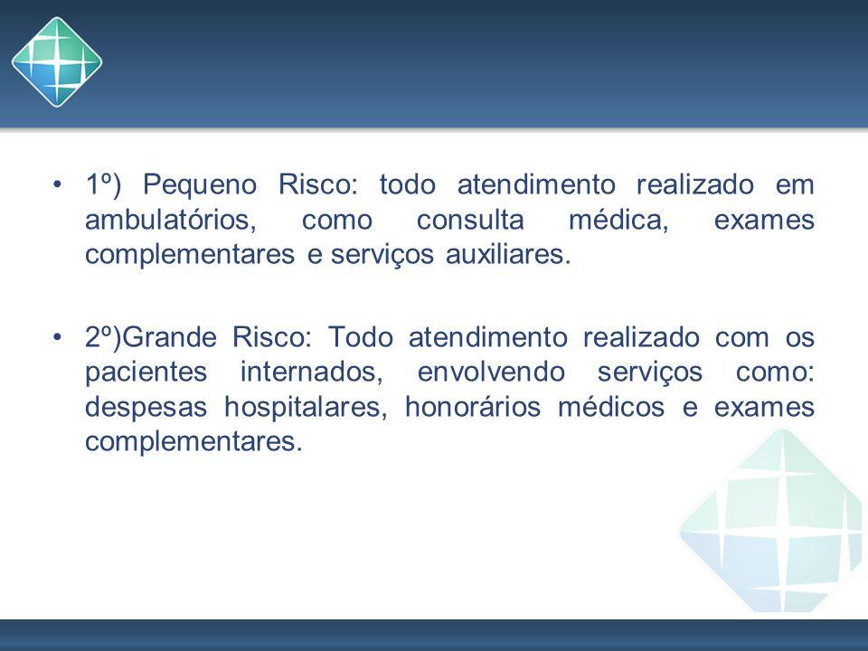 1º) Pequeno Risco: todo atendimento realizado em ambulatórios, como consulta médica, exames complementares e serviços auxiliares.