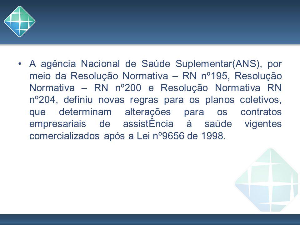 A agência Nacional de Saúde Suplementar(ANS), por meio da Resolução Normativa – RN nº195, Resolução Normativa – RN nº200 e Resolução Normativa RN nº204, definiu novas regras para os planos coletivos, que determinam alterações para os contratos empresariais de assistÊncia à saúde vigentes comercializados após a Lei nº9656 de 1998.