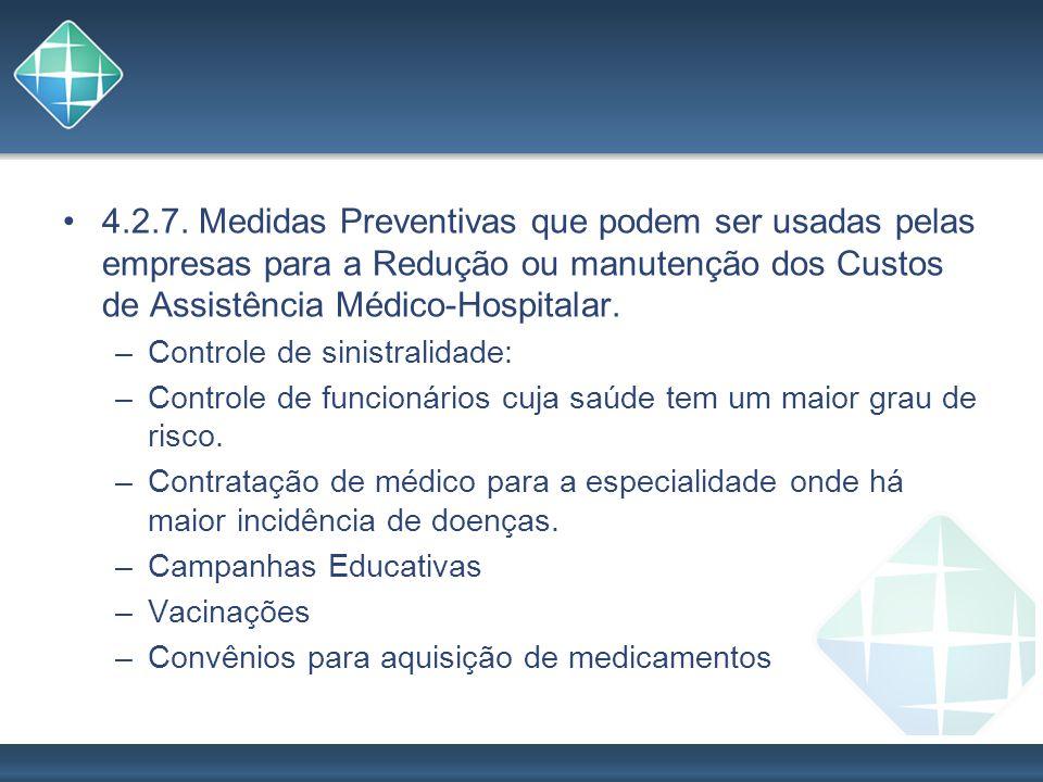4.2.7. Medidas Preventivas que podem ser usadas pelas empresas para a Redução ou manutenção dos Custos de Assistência Médico-Hospitalar.