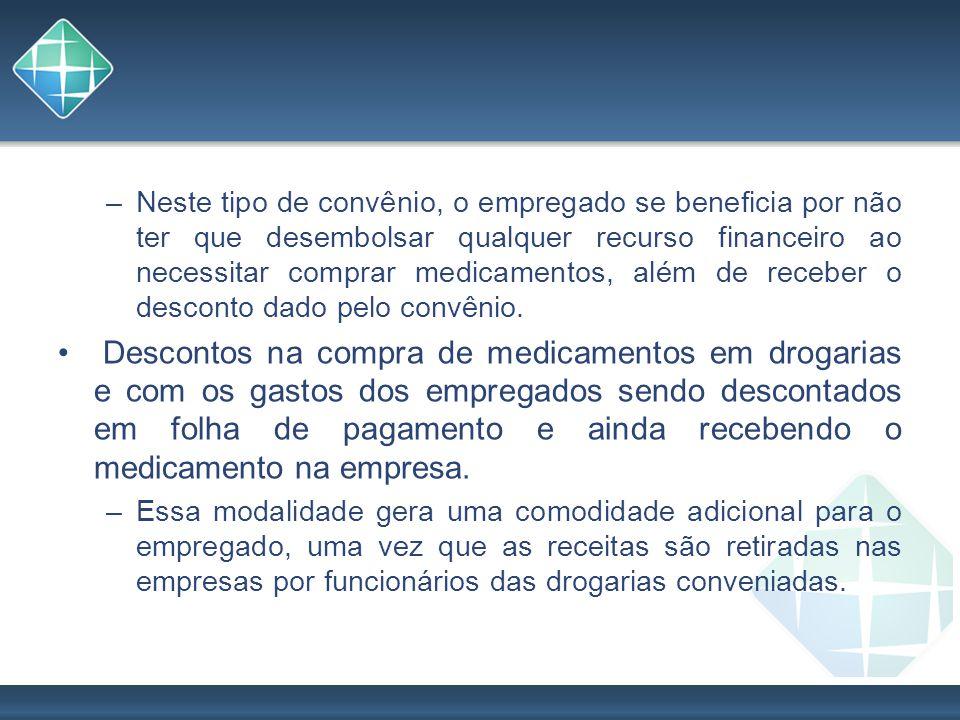 Neste tipo de convênio, o empregado se beneficia por não ter que desembolsar qualquer recurso financeiro ao necessitar comprar medicamentos, além de receber o desconto dado pelo convênio.