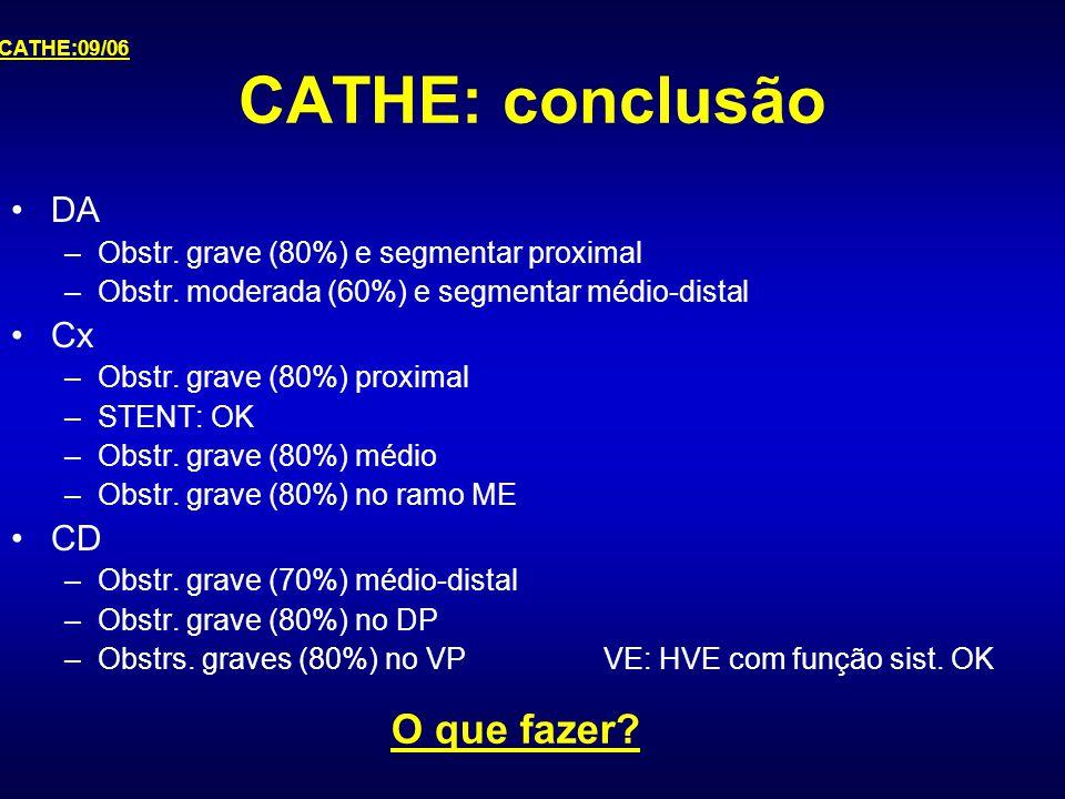CATHE: conclusão O que fazer DA Cx CD