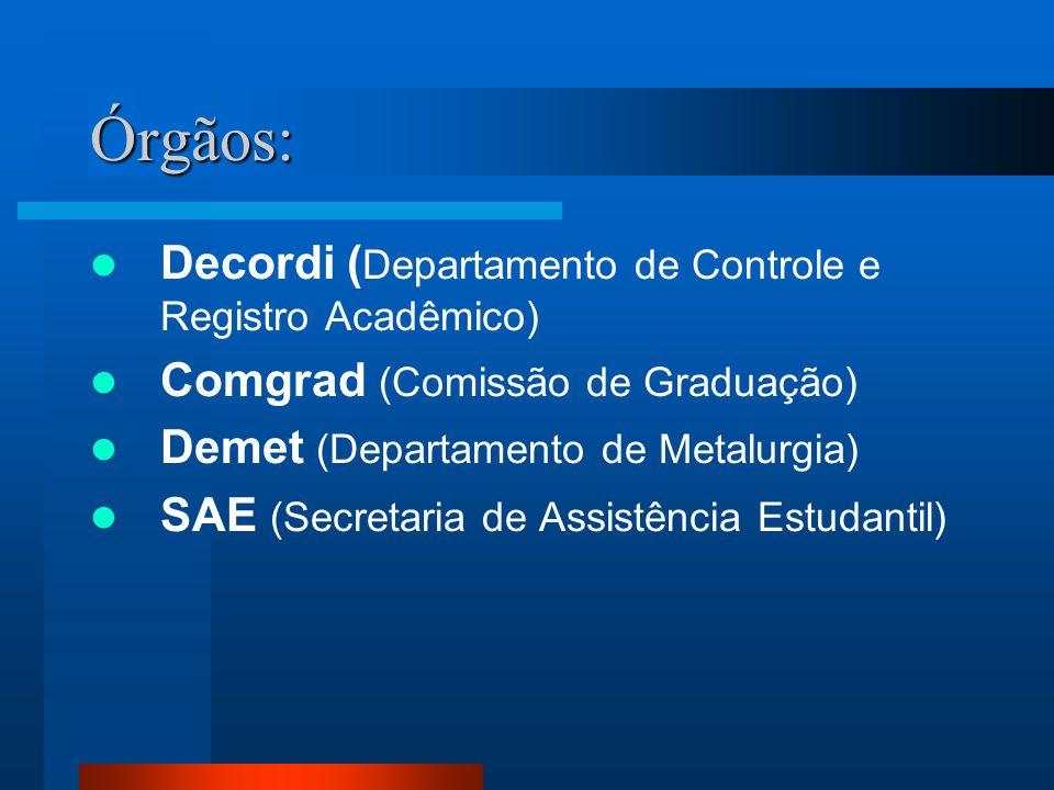 Órgãos: Decordi (Departamento de Controle e Registro Acadêmico)