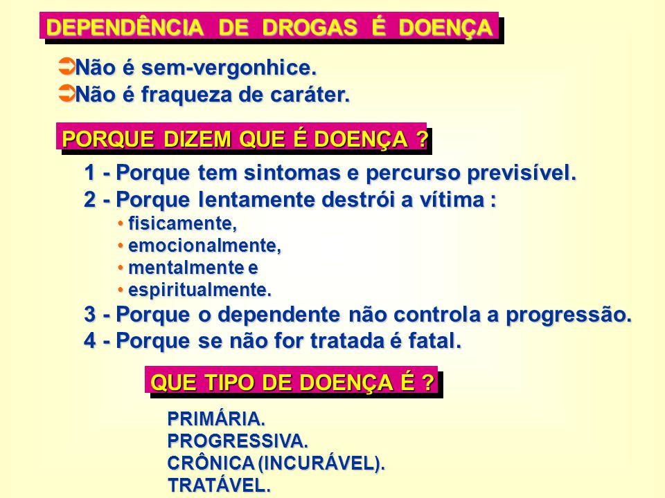 DEPENDÊNCIA DE DROGAS É DOENÇA