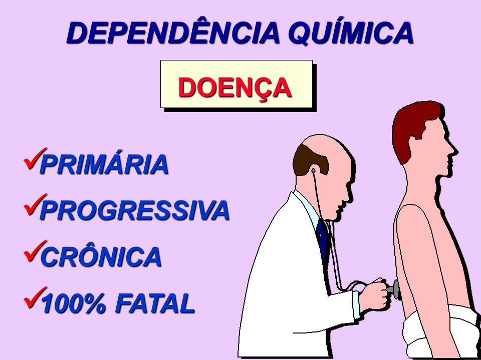 DEPENDÊNCIA QUÍMICA DOENÇA PRIMÁRIA PROGRESSIVA CRÔNICA 100% FATAL