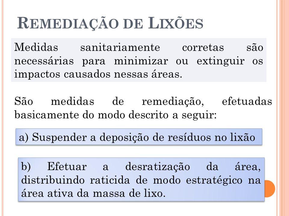 Remediação de Lixões Medidas sanitariamente corretas são necessárias para minimizar ou extinguir os impactos causados nessas áreas.