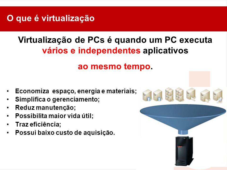 O que é virtualização Virtualização de PCs é quando um PC executa vários e independentes aplicativos.