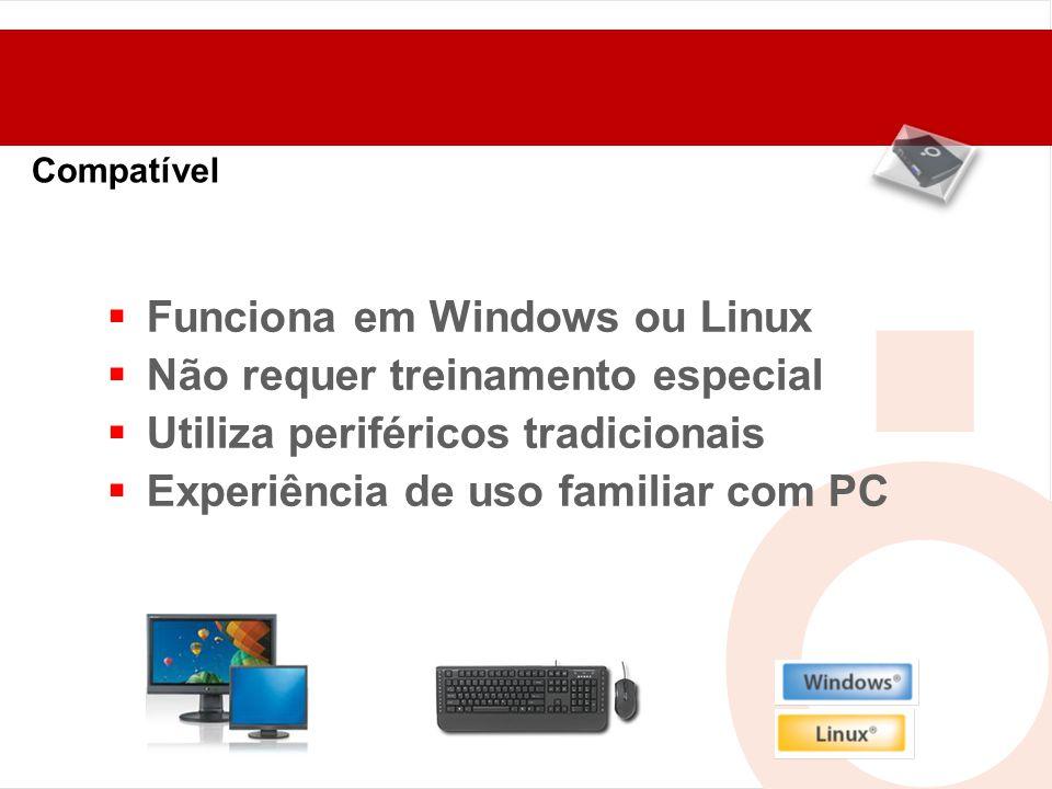 Funciona em Windows ou Linux Não requer treinamento especial