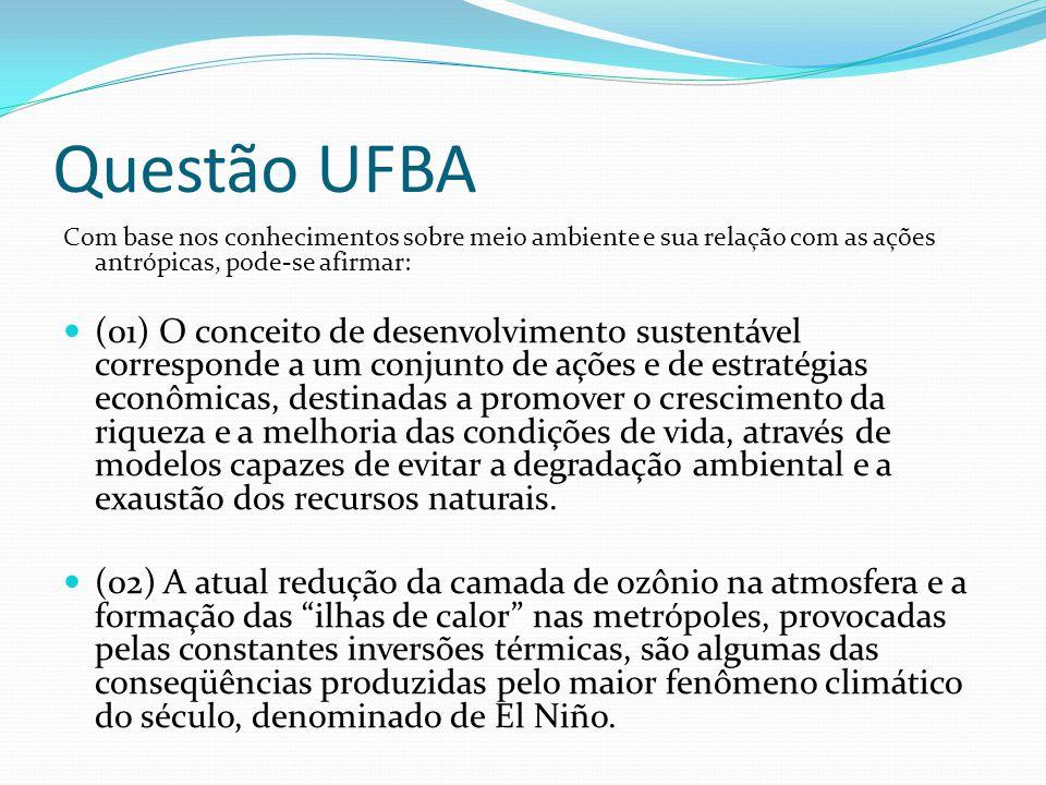 Questão UFBA Com base nos conhecimentos sobre meio ambiente e sua relação com as ações antrópicas, pode-se afirmar: