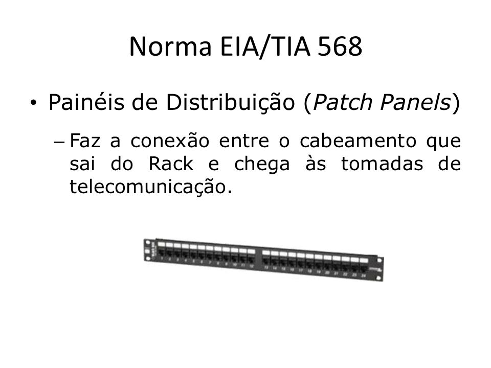 Norma EIA/TIA 568 Painéis de Distribuição (Patch Panels)