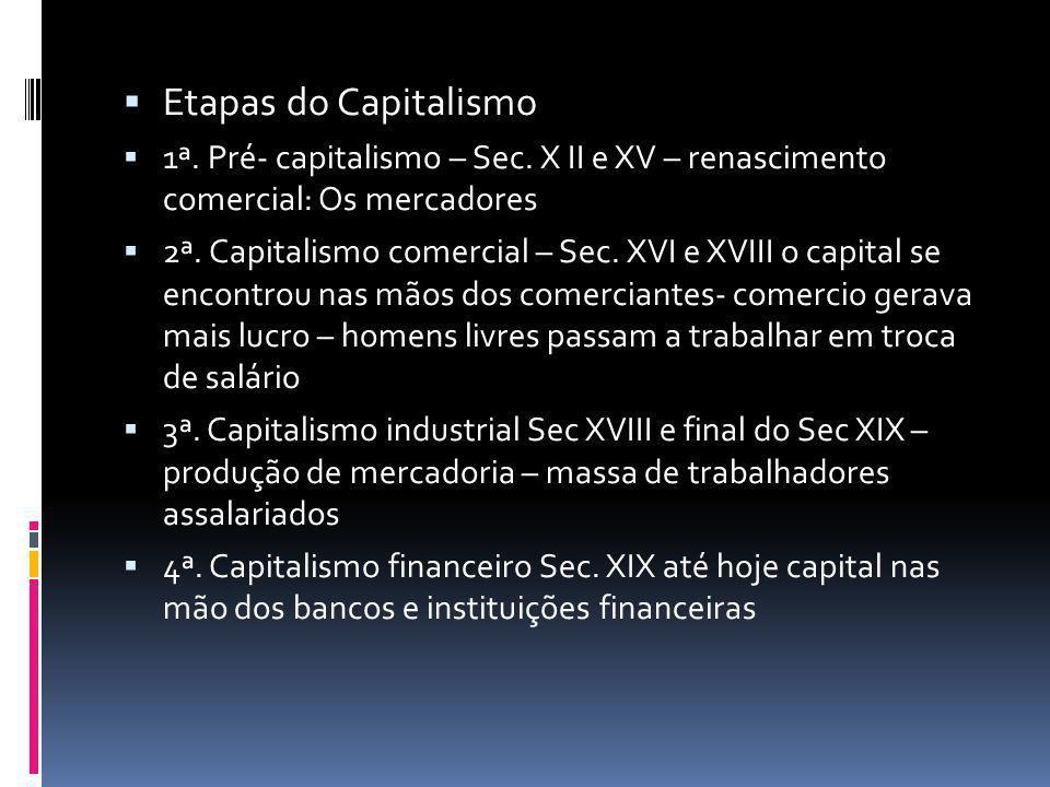 Etapas do Capitalismo 1ª. Pré- capitalismo – Sec. X II e XV – renascimento comercial: Os mercadores.