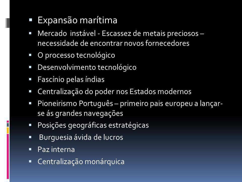Expansão marítima Mercado instável - Escassez de metais preciosos – necessidade de encontrar novos fornecedores.