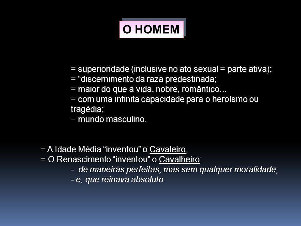 O HOMEM = superioridade (inclusive no ato sexual = parte ativa);