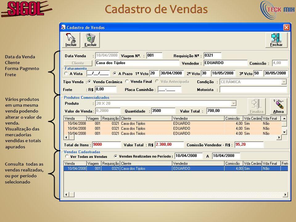 Cadastro de Vendas Data da Venda Cliente Forma Pagmnto Frete