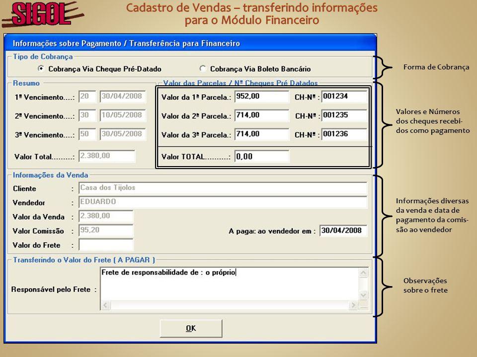 Cadastro de Vendas – transferindo informações para o Módulo Financeiro