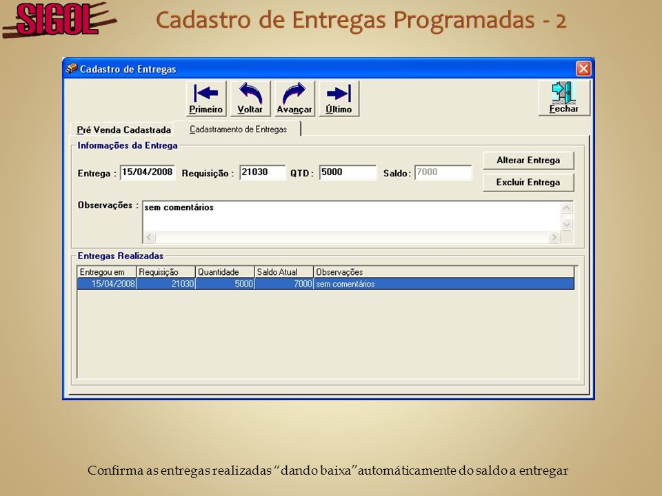 Cadastro de Entregas Programadas - 2