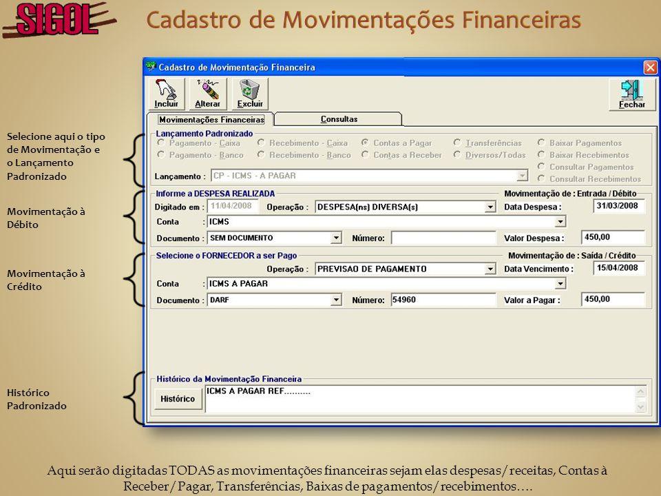 Cadastro de Movimentações Financeiras