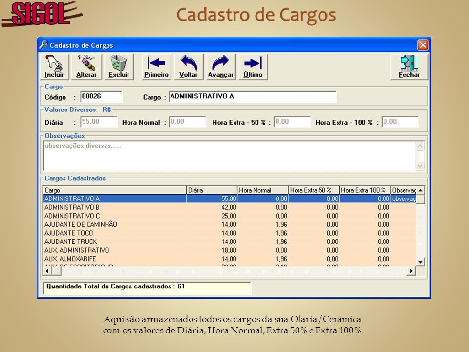 Cadastro de Cargos Aqui são armazenados todos os cargos da sua Olaria/Cerâmica.