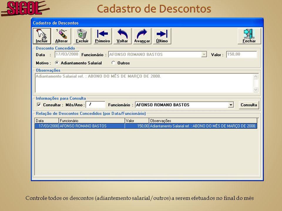 Cadastro de Descontos Controle todos os descontos (adiantemento salarial/outros) a serem efetuados no final do mês.