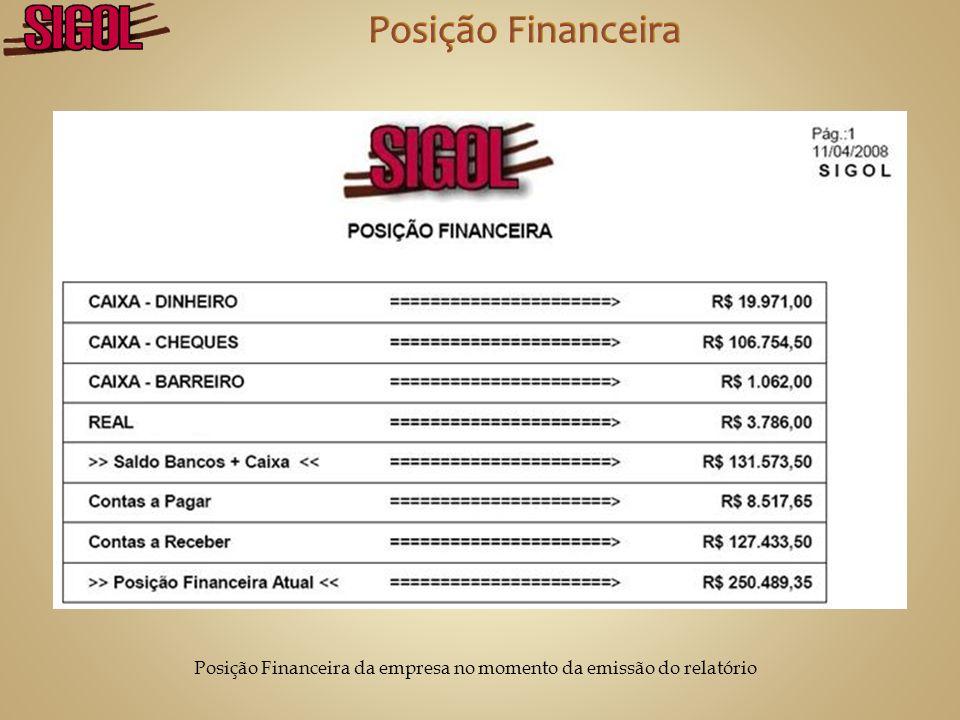 Posição Financeira da empresa no momento da emissão do relatório