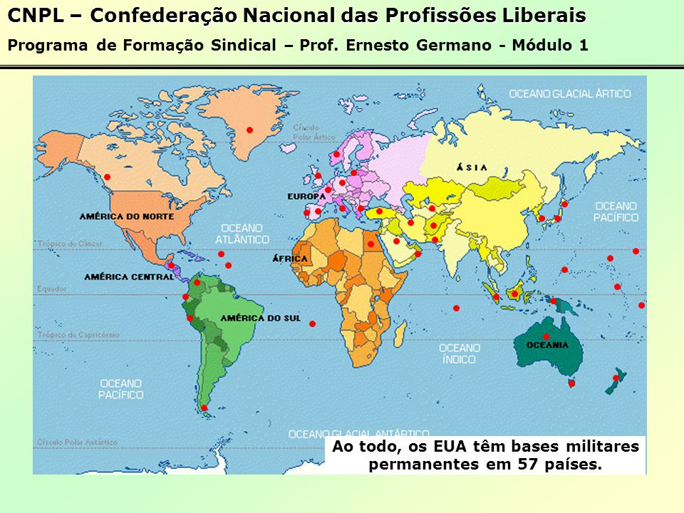 Ao todo, os EUA têm bases militares permanentes em 57 países.