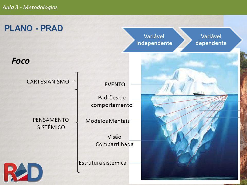 Foco PLANO - PRAD Aula 3 - Metodologias Variável Independente