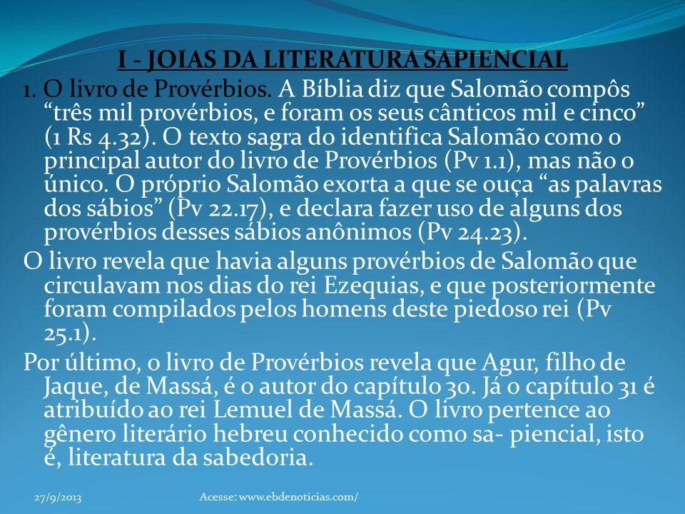 I - JOIAS DA LITERATURA SAPIENCIAL
