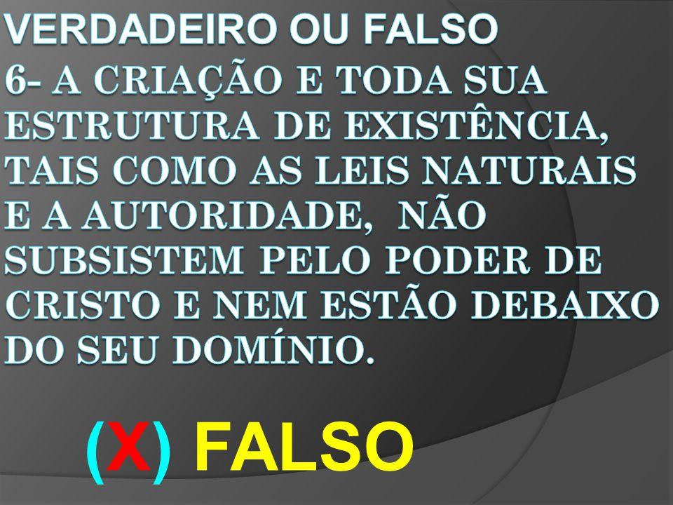 VERDADEIRO OU FALSO 6- A criação e toda sua estrutura de existência, tais como as leis naturais e a autoridade, Não subsistem pelo poder de Cristo e nem estão debaixo do seu domínio.