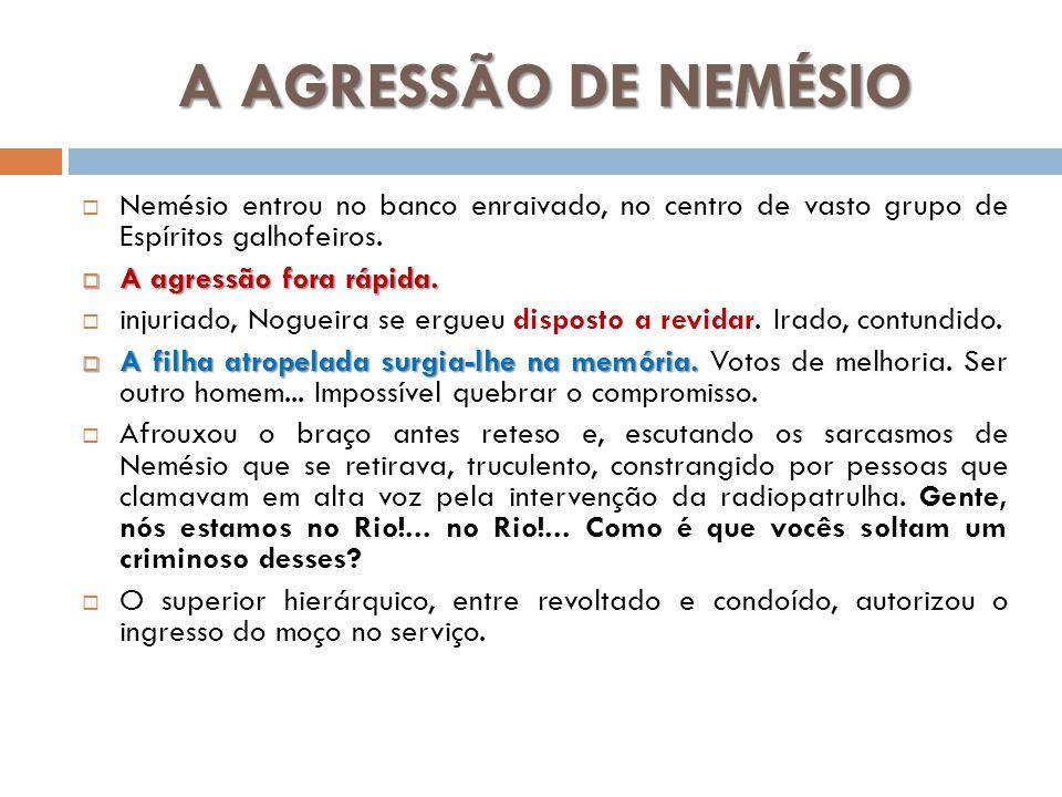 A AGRESSÃO DE NEMÉSIO Nemésio entrou no banco enraivado, no centro de vasto grupo de Espíritos galhofeiros.